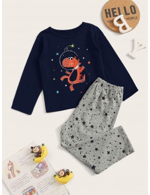 Toddler Boys Cartoon & Star Print Pajama Set