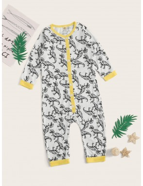 Toddler Boys Cartoon Dinosaur Print Onesie