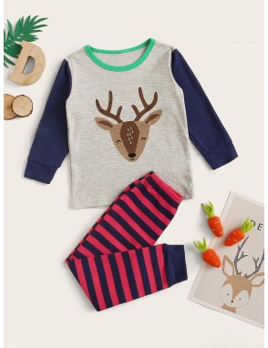 Toddler Boys Cartoon Deer Print PJ Set