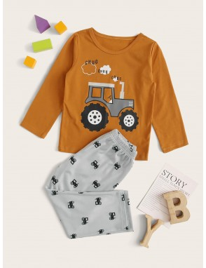 Toddler Boys Cartoon Car Print PJ Set