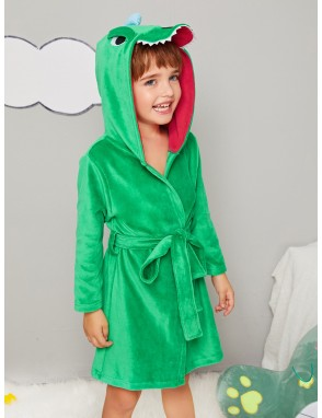 Toddler Boys Cartoon dinosaur Velvet Robe With Belt