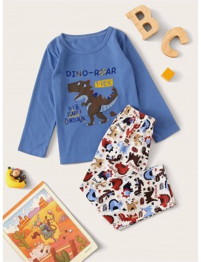 Toddler Boys Cartoon Dinosaur Print PJ Set