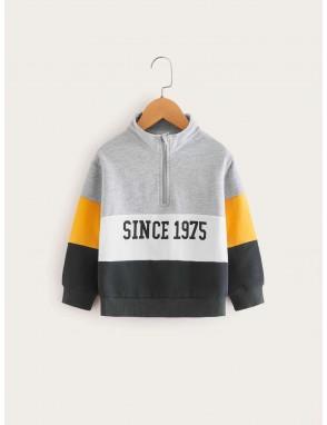 Toddler Boys Color-block Letter Print Half Zipper Sweatshirt