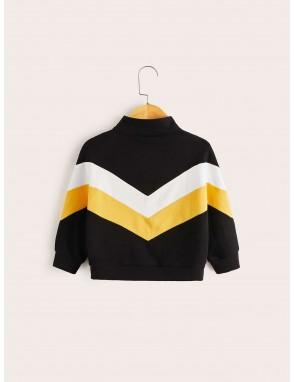 Toddler Boys Chevron Pattern Half Zipper Sweatshirt