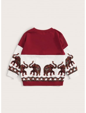 Toddler Boys Tribal Print Cut And Sew Sweatshirt