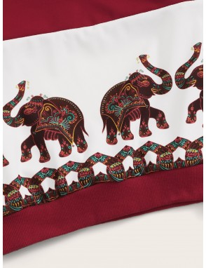 Toddler Boys Tribal Print Cut And Sew Sweatshirt
