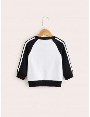 Toddler Boys Contrast Panel Side Stripe Baseball Sweatshirt