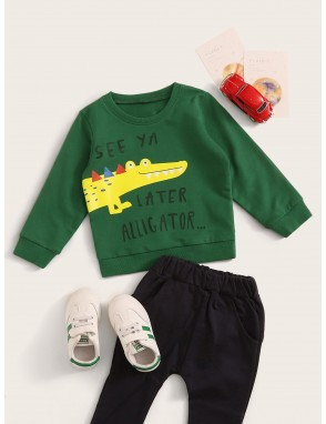 Toddler Boys Crocodile And Slogan Print Sweatshirt