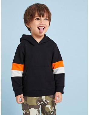 Toddler Boys Contrast Panel Hooded Sweatshirt