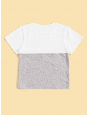 Toddler Boys Cut And Sew Panel Striped Tape Tee