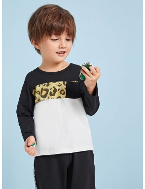 Toddler Boys Cut And Sew Leopard Print Tee