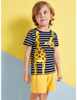 Toddler Boys Giraffe Graphic Striped Tee
