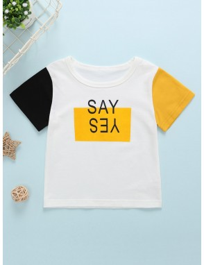 Toddler Boys Contrast Sleeve Letter Print Tee