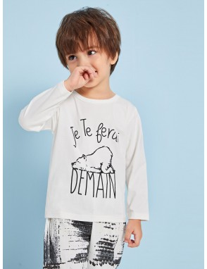 Toddler Boys Cartoon And Letter Print Tee