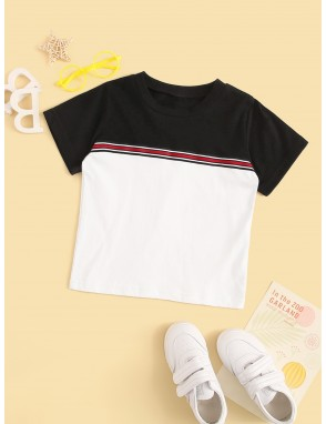 Toddler Boys Contrast Panel Striped Tee