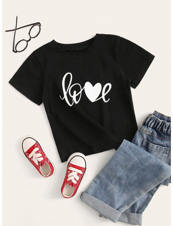 Toddler Boys Heart & Letter Print Tee