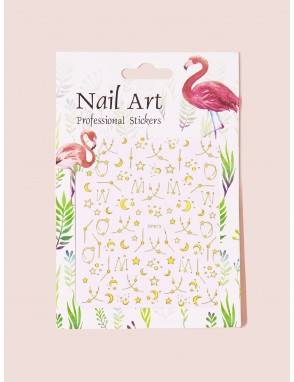 3D Moon & Star Shaped Nail Sticker 1 Sheet