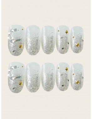 Glitter Round Fake Nail 24pcs With Tape